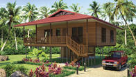 Light Steel Frame Wooden Home Beach Bungalows With Shower , Kitchen
