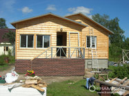 China Steel Structure Modern Wooden Log Houses , High Insulation Prefabricated Bungalow Homes company