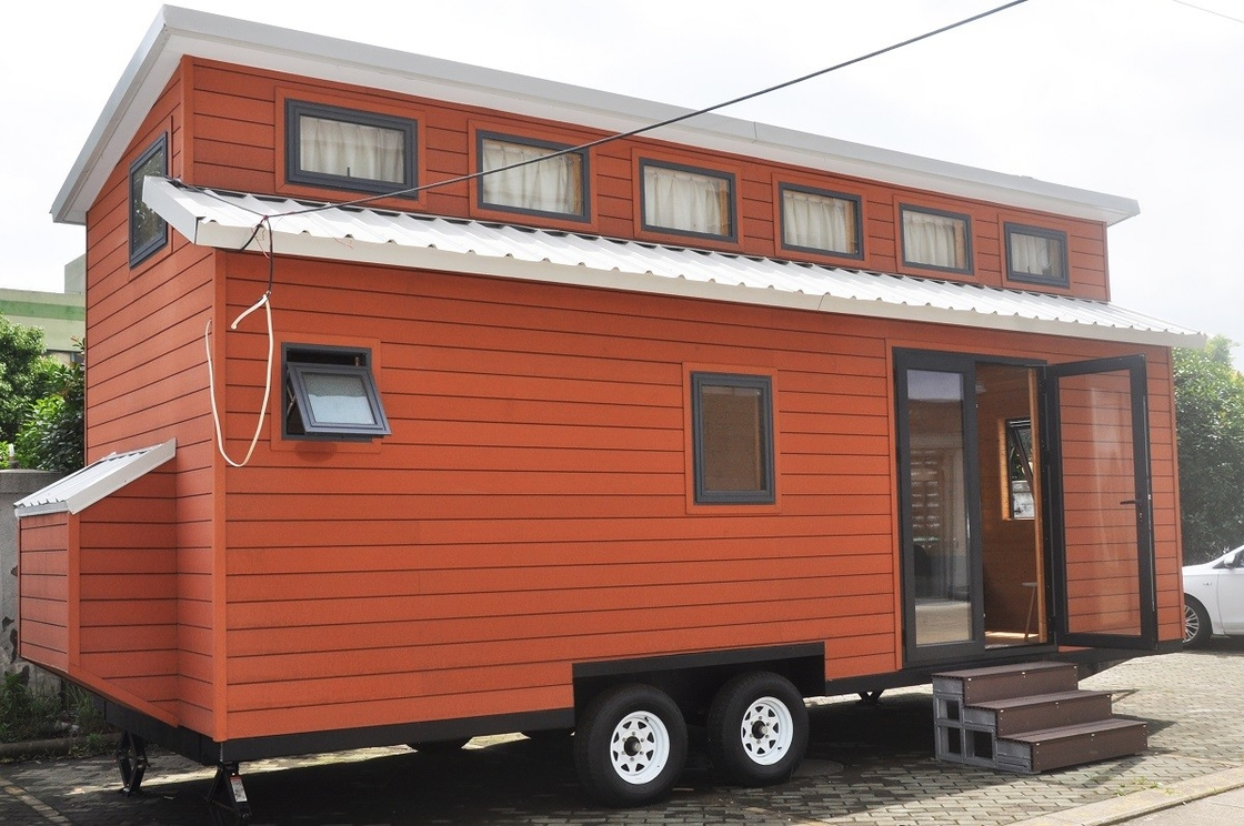 Ready made steel frame prefab tiny house with trailer on wheels