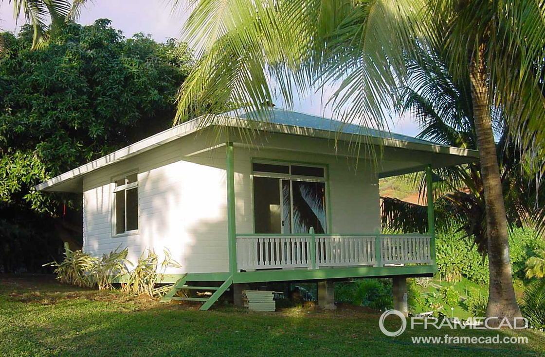 One Bedroom Steel Beach Bungalow , Small Prefab House Kits , LIght Steel Foundation