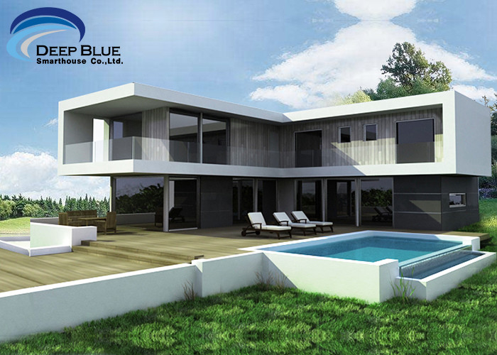 Steel Structural Small Prefab Homes Prefabricated Villa / Modern Simple Style Villa