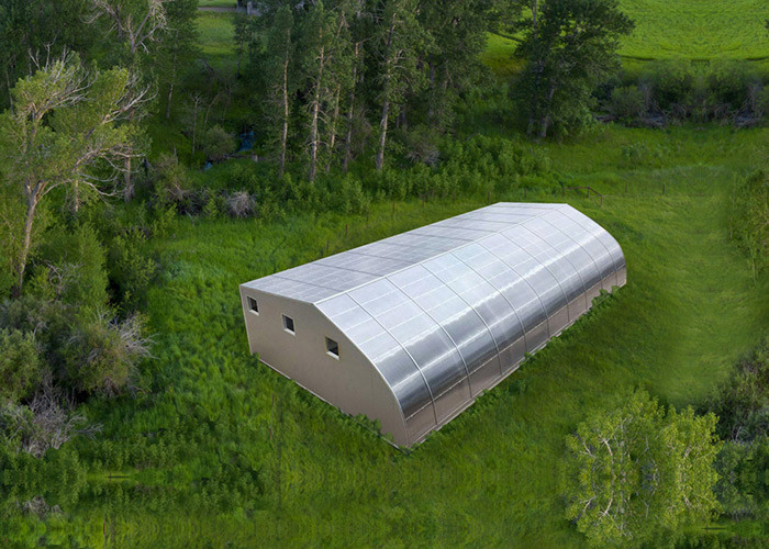 Large Prefab Steel House Carport Shed Shelter Green House With Solar Panel