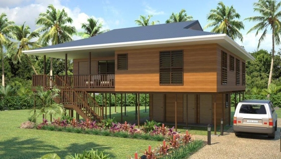Heat Insulation Prefab Home Beach Bungalows , Customized Light Steel Bungalow