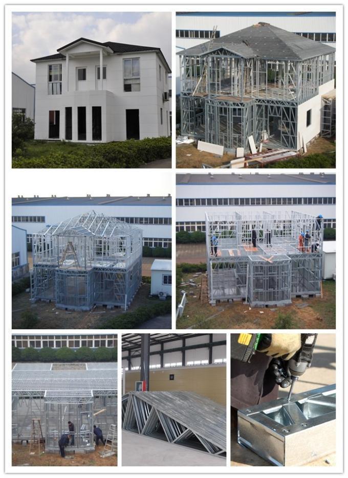 2 Story Light Steel Frame Houses , Prefab Building For Housing Architecture